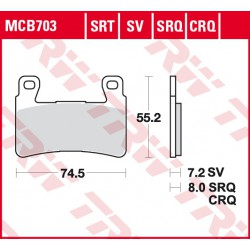 Front brake pads TRW / Lucas Honda CBR 954 RR Fireblade 2002 - 2003 type CRQ