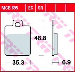 Front brake pads TRW / Lucas Derbi  150 Sonar 2009 - 2010 type EC