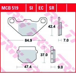 Front brake pads TRW / Lucas Yamaha YFM 300 Grizzly 2012 - 2014 type SI
