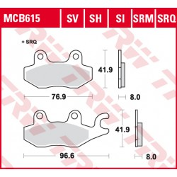 Front brake pads TRW / Lucas CF Moto  550 U-Force 2015 -  type SI