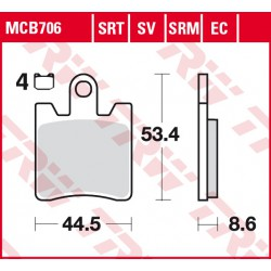 Front brake pads TRW / Lucas Daelim S300 250 FI 2013 -  type SRM