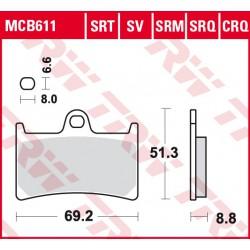 Front brake pads TRW / Lucas Yamaha XV 1900 Midnight Star 2006 - 2010 type SRT