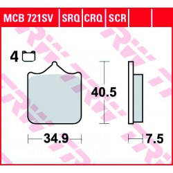 Front brake pads TRW / Lucas Benelli TRK 502  2018 -  type SRT