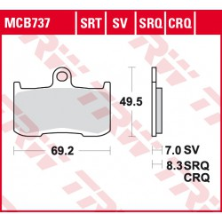 Front brake pads TRW / Lucas Indian  1800 Roadmaster Elite ABS 2018 -  type SRT