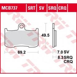 Front brake pads TRW / Lucas Victory  1731 Gunner 2015 -  type SRT
