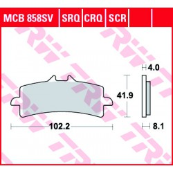 Front brake pads TRW / Lucas Aprilia V4 1100 Tuono Factory ABS 2017 -  type SRT