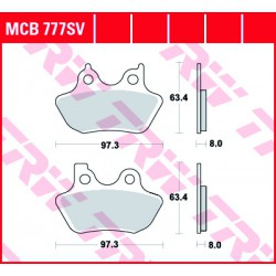 Front brake pads TRW / Lucas Harley-Davidson FXDSE 1800 Dyna Screaming Eagle 2007 - 2008 type SV