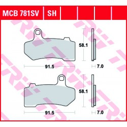 Front brake pads TRW / Lucas Harley-Davidson FLHTCU 1800 CVOUltraClassicElectraGl.,ABS 2011 -  type SV