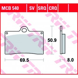 Front brake pads TRW / Lucas SYM  150 G-Max 2005 - 2006 type SV
