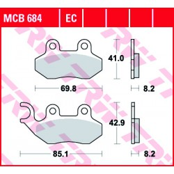 Front brake pads TRW / Lucas TGB  300 Bellavita EFI 2012 -