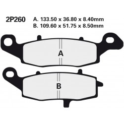 Front brake pads Nissin Kawasaki ER-6f 650 Left/Rear 2009 - 2011 type NS
