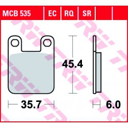 Rear brake pads TRW / Lucas Sherco  290 Trials 2.90 1999 - 2005 směs EC