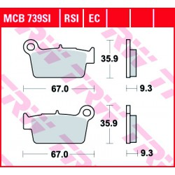 Rear brake pads TRW / Lucas Beta RR 525  2005 - 2009 směs RSI