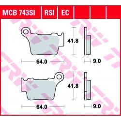 Rear brake pads TRW / Lucas Husaberg TE 125  2012 -  směs RSI