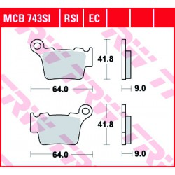 Rear brake pads TRW / Lucas KTM EXC 530  2008 - 2011 směs RSI