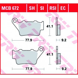Rear brake pads TRW / Lucas Royal Enfield  650 Continental GT 2018 -  směs SH