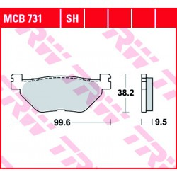 Rear brake pads TRW / Lucas Yamaha XV 1900 A Midnight Star 2011 - 2016 směs SH