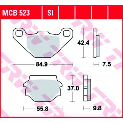 Rear brake pads TRW / Lucas TGB  400 Target 2009 - 2010 směs SI
