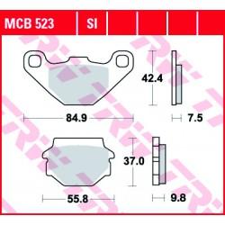 Rear brake pads TRW / Lucas Yamaha YFM 300 Grizzly 2012 - 2014 směs SI