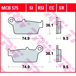 Rear brake pads TRW / Lucas Gas Gas EC 515 FSR 2008 - 2009 směs SI