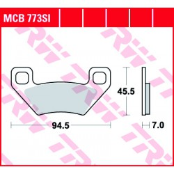 Rear brake pads TRW / Lucas Arctic Cat TRV 650 H1, V2 4x4 2005 -  směs SI