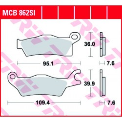 Rear brake pads TRW / Lucas Can-Am  900 X3, X3 Max 2017 -  směs SI