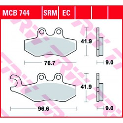 Rear brake pads TRW / Lucas Gilera GP 800  2008 -  směs SRM