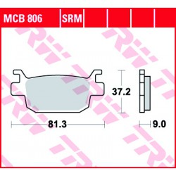 Rear brake pads TRW / Lucas Benelli BN 302  2014 - 2016 směs SRM