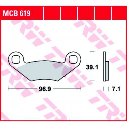 Rear brake pads TRW / Lucas Polaris  570 Ranger RZR EFI 2012 -