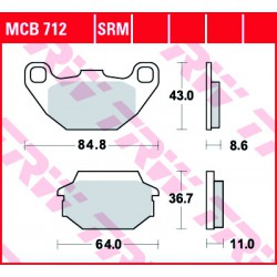 Rear brake pads TRW / Lucas SYM GT 500  2005 -