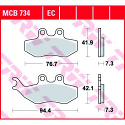 Rear brake pads TRW / Lucas Piaggio  180 Beverly GT 2002 - 2007