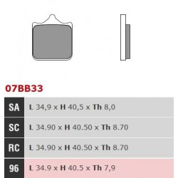 Front brake pads Brembo Bimota 1078 DB10 BIMOTARD 2012 -  type 96
